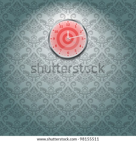 Grey Wallpaper and red Clock on Wall in Room. Vector Illustration - stock vector
