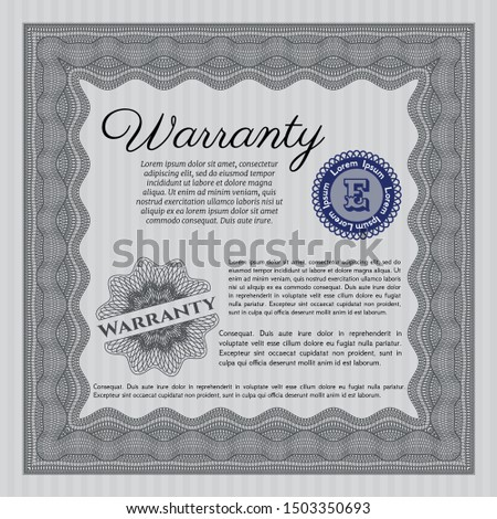 Grey Warranty. Money Pattern. With complex linear background. Customizable, Easy to edit and change colors.