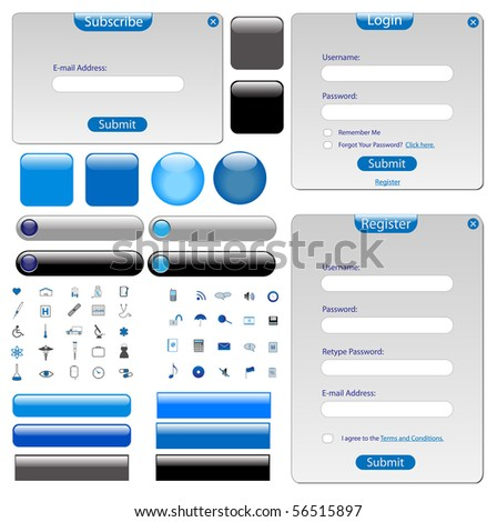 Grey web template with forms, bars, buttons and many icons.