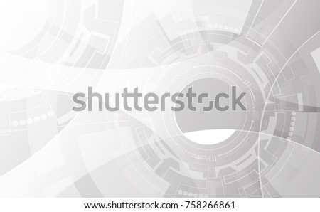 Grey wheel geometric technology background with gear shape. Vector abstract graphic design.