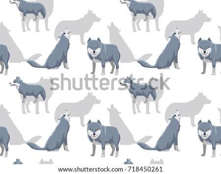 grey wolf cartoon white