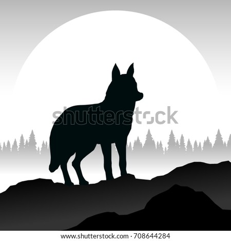 grey wolf silhouette in minimal
