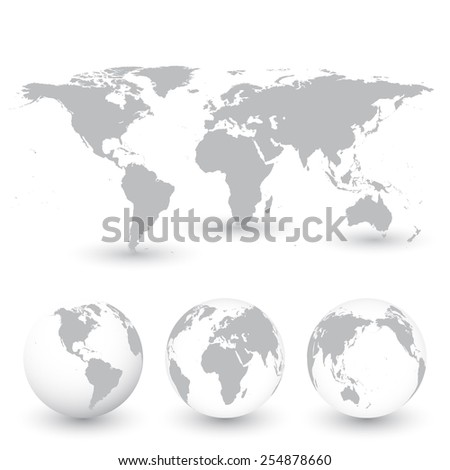 grey world map and globes
