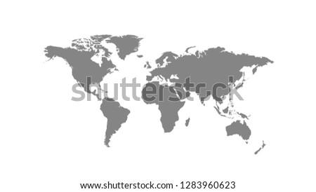 Grey world map or global cartography vector illustration