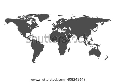 Grey World map vector isolated on white background. Flat Earth template. Globe icon.