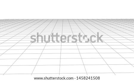 Grid on white background. 3d wireframe landscape. Perspective. Vector illustration.