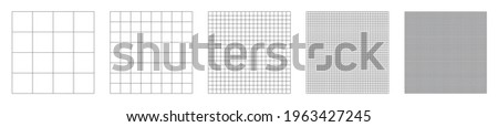 Grid pattern vector collection.Set of grid pattern background.Grid templates isolated on white background.Graph paper vector.Square grid lines black background.Vector illustration
