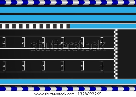 Grid race start line in a car track, Aerial top view of grid race start.vector illustration