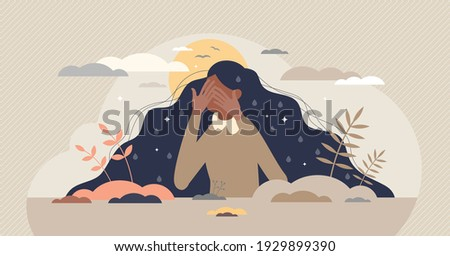 Grief emotion with negative feeling and mental breakdown tiny person concept. Psychological depression, frustration or anxiety about loneliness and loss vector illustration. Female sad and sorrow. Photo stock ©