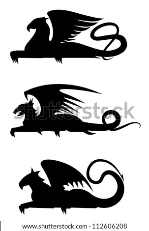 Griffin black silhouettes set for heraldry design, such a logo. Jpeg version also available in gallery