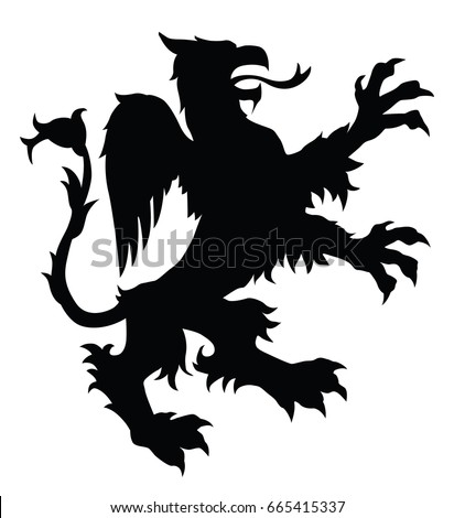Griffin silhouette. Editable vector illustration.