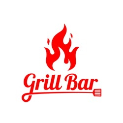 Grill / barbecue bar logo concept inspiration with flat design style. Vector illustration template