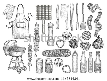 Grill, barbecue equipment, tool, illustration, drawing, engraving, ink, line art, vector