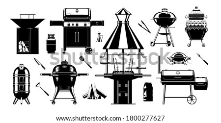 Grill BBQ sihouette set. Barbecue grilling tools. charcoal grills, gas grills & wood fired grills. Vector illustration