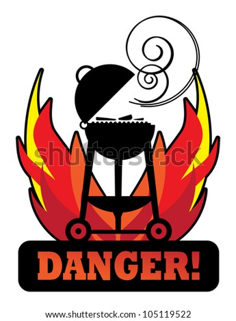 Grill Danger sign, Vector illustration