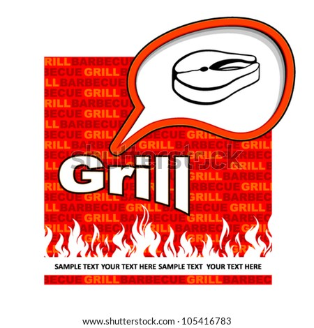 Grill label design. Grill fish stickers.