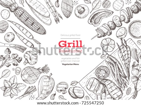 Grill menu design template. Grilled vegetables top view frame, vegetarian cuisine. Vector illustration. Engraved design. Hand drawn illustration. Food on the grill