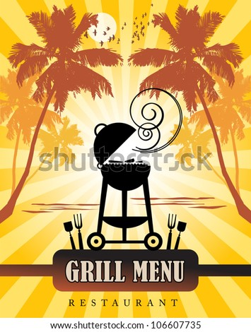 Grill Menu tropical, vector illustration