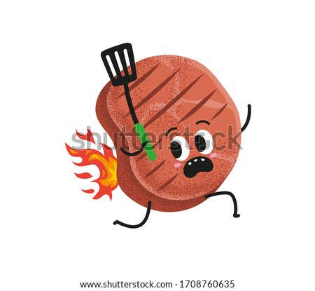 Grill party minimal vector illustration design.  Cute grill meat running with barbecue turner. Funny BBQ ham run with burning back. Beef steak with barbecue tool. Invitation card design element.