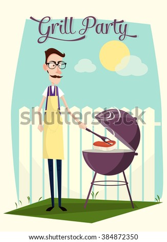Grill party vector