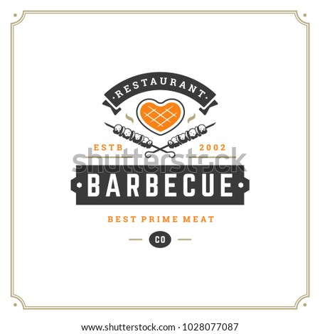 Grill restaurant logo vector illustration. Barbecue steak house menu emblem, meat steak silhouette. Vintage typography badge design.