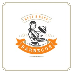 Grill restaurant logo vector illustration. Barbecue steak house menu emblem, waitress with tray silhouette. Vintage typography badge design.
