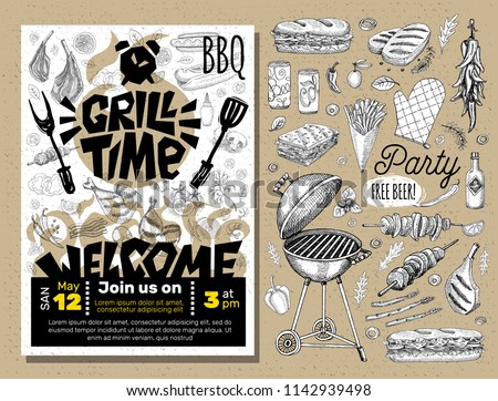 Grill Time Party BBQ food poster. Grilled food, meat fish vegetables grill appliance fork knife chicken shrimps lemon spice. Hand drawn vector illustration.