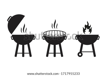 grill vector icon illustration, BBQ Grill symbol. isolated on white background,