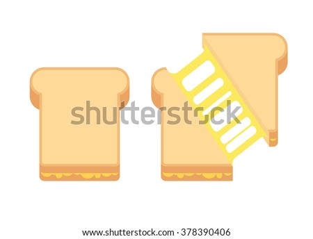 Grilled cheese sandwich with melted cheese. Flat cartoon style vector illustration.