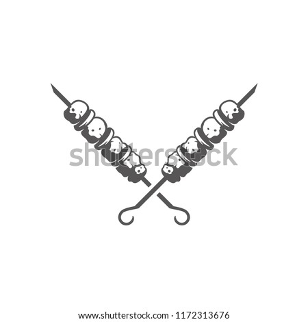 Grilled doner meat kebab on skewers stick silhouette vector illustration. Barbecue graphics isolated on white background.
