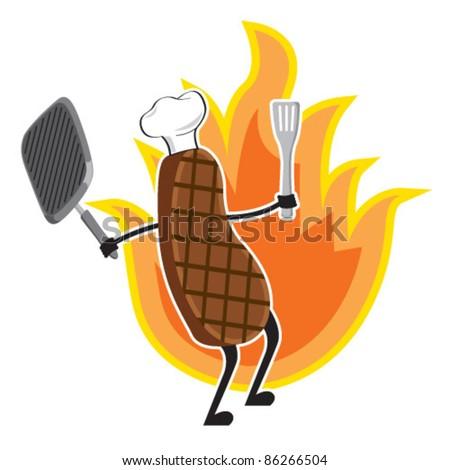 Grilled Meat Stock Vector Illustration 86266504 : Shutterstock