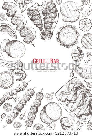 Grilled meat and vegetables top view frame. Hand drawn illustration. Grill restaurant menu design template. Pub food vector illustration. Vintage engraved illustration for beer restaurant.