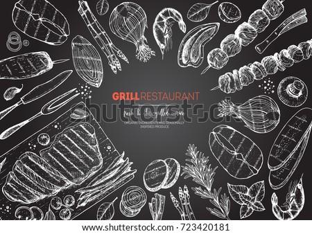 Grilled meat and vegetables top view frame. Vector illustration. Engraved design. Hand drawn illustration. Grill restaurant menu design template.