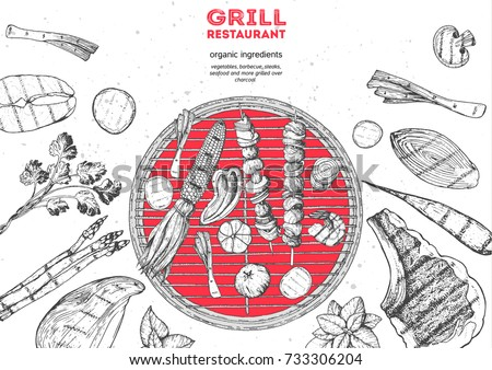 Grilled meat and vegetables top view frame. Vector illustration. Engraved design. Hand drawn illustration. Grill restaurant menu design template. Food on the grill.