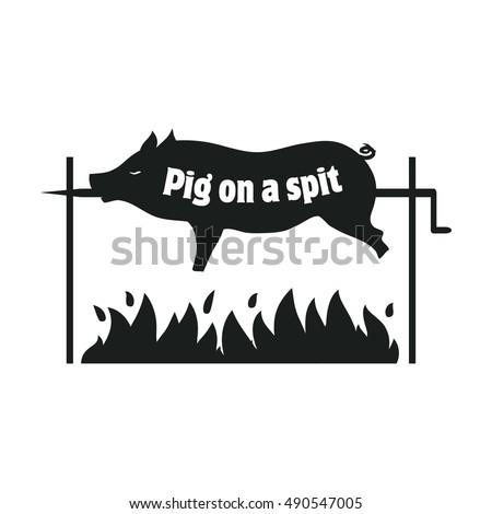 grilled pig pig on spit