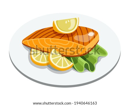 Grilled salmon fillet fish on plate. Cooked tuna steak with lemon and lettuce leaves. Cartoon vector seafood illustration. Stock photo ©