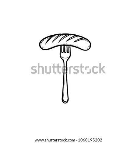 Grilled sausage on fork hand drawn outline doodle icon. Vector sketch illustration of fork with sausage for print, web, mobile and infographics isolated on white background.