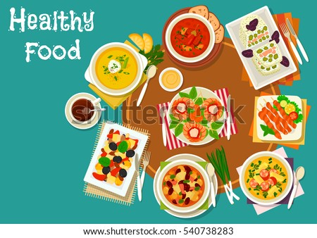 Grilled shrimp and chicken icon served with cheese snack with salmon, vegetable salad with olives, pea soup with sausages, bean soup, chili tomato soup, pumpkin cream soup with nuts