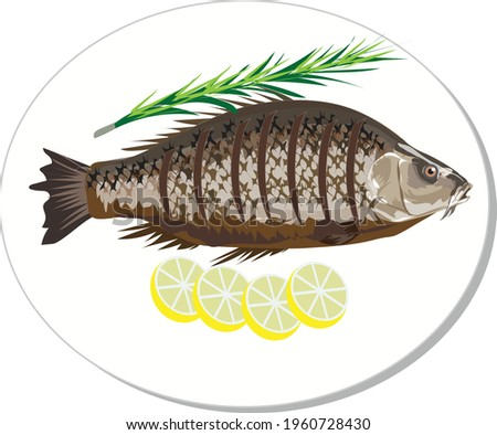 Grilled spicy fish, heathy seafood - Vector