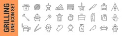 Grilling vector isolated line icon set. BBQ barbecue grill. Collection