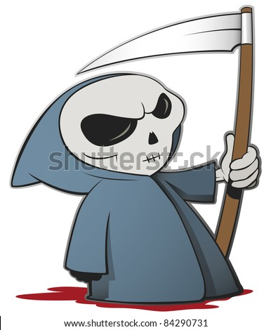 Grim reaper cartoon character isolated on a white background - Vector