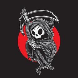 grim reaper cartoon. Cute little grim reaper cartoon character holding scyte.