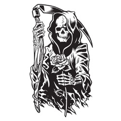 grim reaper death monster with scythe and flower for Halloween concept.