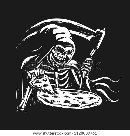 grim reaper eating pizza