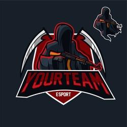 grim reaper holding assault riffle esport gaming mascot logo template