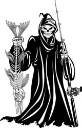 grim reaper holding caught fish and fishing rod