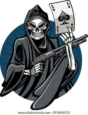 grim reaper holding gun and ace