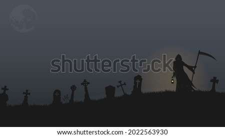 grim reaper holding lantern and