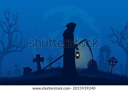 grim reaper holding lantern in