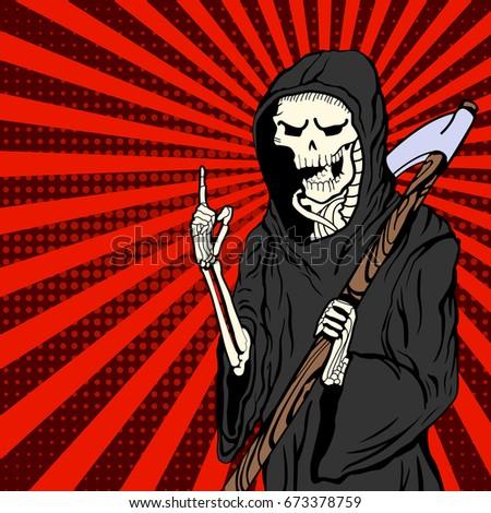 grim reaper in pop art style